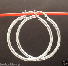 """3mm X40mm 1 1/2"""" Plain Shiny Round Hoop Earrings Real 925 Sterling Silver"""
