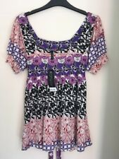 Bnwt Ladies Summer Purple Floral Butterfly Tie Top Size 10 By Topshop New