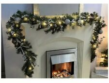 Pre-Lit Decorated Garland Illuminated with 40 Cold White LED Lights Glitter 9 ft