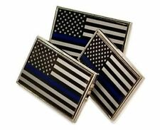3 Pack of Thin Blue Line American Flag Police Cop Support Lapel Pins Tie Tacks
