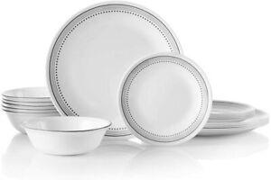 Classic Dinnerware Set, 18 Piece Set, Mystic Gray, White And Grey