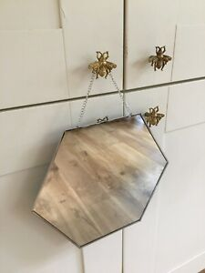 Modern Vintage/Retro Style Hexagonal Chain Hanging Silver Edge Mirror
