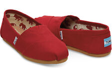Women's Size 12 Tom's Classics Red Classic Canvas Slip on Flat Shoes Red