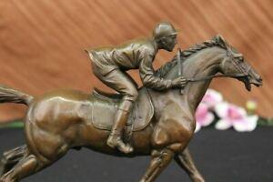 Bronze Sculpture Great Detail a Jockey and Thoroughbred Horse Hot Cast Decor Art