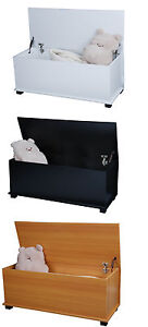 LARGE WOODEN OTTOMAN STORAGE TOY CHEST BOX TRUNK WITH 2 LOCKABLE HINGE 3 COLOURS