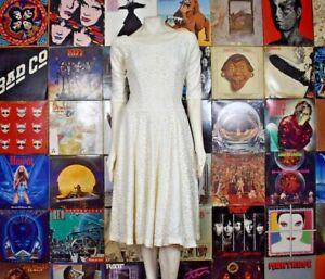 Vintage 50s Jonathan Logan Lace A Line Fit Flare 3/4 Sleeve Swing Midi Dress