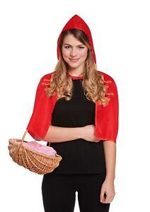Red Riding Short Hood Cape & Hood Fairytale Halloween Fancy Dress World Book Day