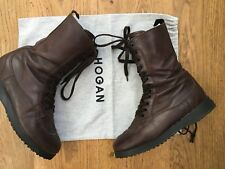 HOGAN Lace up Military Army Style Brown Leather Boots  35.5 UK 2.5 US 5.5