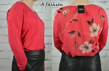 NEXT NEW UK 12 CORAL CHIFFON BACK RAGLAN LONG SLEEVED LADIES BLOUSE TOP