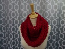 super chunky scarf / snood / infinity scarf hand crafted crochet cherry red gift