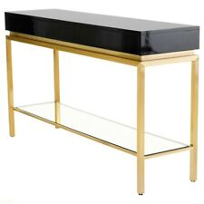 "59.8"" L Console Table Hardwood Top Tempered Glass Panel Stainless Steel Base"