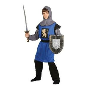 Boys Blue Medieval Knight Costume King Arthur Soldier Fancy Dress Outfit