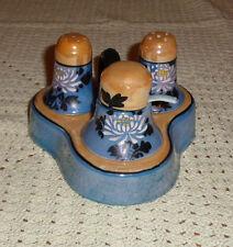 Vintage LUSTERWARE  Salt  Pepper &  Mustard Jar With Spoon on Base - Japan