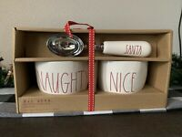 Rae Dunn by Magenta 3pc Ice Cream Scoop and Bowl Set Christmas Naughty and Nice