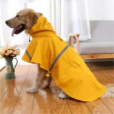 Large Yellow DOG RAINCOAT with Reflective Stripe Waterproof Coat Jacket