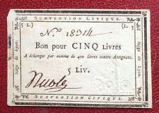 France - Très Rare Assignat de 5 Livres du Siège de Lyon --  Août 1793