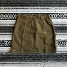 Women's Free People Sz 2 Above Knee Mini Straight Pencil Skirt Dark Olive Green
