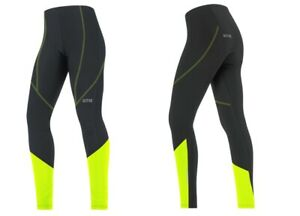 Gore Wear Women's C3 E Thermo Tights Black Size S NWT UK Black Neon Yellow