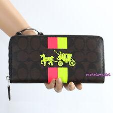 NWT Coach Signature C Neon Pink Green Stripe Accordion Zip Around Wallet F52588