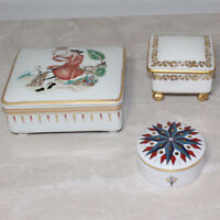Lot of Three Porcelain Trinket Boxes, Small, Med & Large, One is Limoges