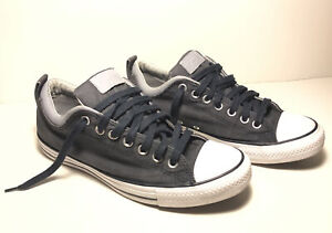 Converse All-Star Low Tops Men's Size 9 Dark Blue Denim With Leather Trim VG Con