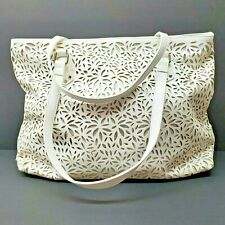 Enzo Angiolini White Cut Out Tote Bag Purse Faux Leather Floral Footed