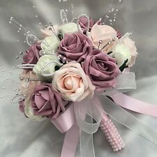 BRIDES POSY BOUQUET VINTAGE PINK IVORY ROSES PEARLS DIAMANTES ARTIFICIAL FLOWERS
