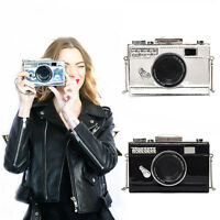 New shining PU camera shape small cute long shoulder bag clutch silver black
