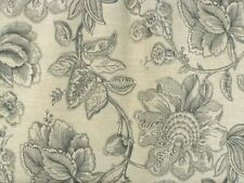 Drapery Upholstery Fabric Slubby Linen-Look Floral Print - Gray / Natural