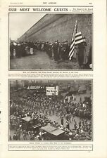 1918 ANTIQUE PRINT-WW1-Bande de les carabiniers, American Red Cross Nurses