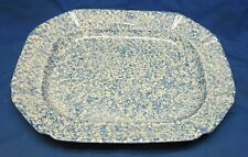 "16"" X13"" X 2"" Blue & White Serving Platter USA Spongeware Beauty"