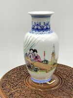 """Chinese Porcelain  Vase with Woman in Garden and Poem 8.75"""""""