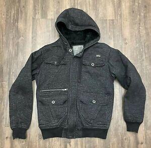 Fox Racing Sasquatch Black Hoodie Faux Fur Lined Jacket Full Zip Size Medium