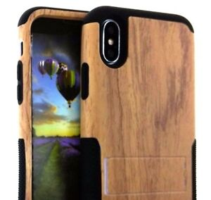 iPhone X / XS - Hybrid HARD & SOFT Kickstand Armor Case Cover Plastic Brown Wood