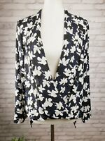 Ann Taylor M surplice blouse tunic navy blue and white floral draped hem