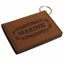 Custom Engraved Leather Keychain Wallet - Personalized ID Holder License Holder