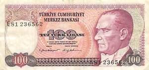 Turkey  100  Lira  ND.1984  Series  E  Circulated Banknote WKsat