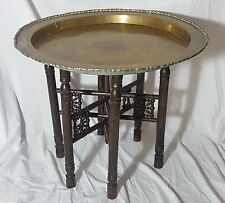 Beautiful Antique Oriental Heavy Brass Tray Table