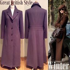 WINDSMOOR COAT SIZE 12 BROWN LONG WOOL CASHMERE MX BUTTON