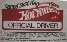 Original 1969 MATTEL HOT WHEELS SPEED TEST DAY OFFICIAL DRIVER IRON-ON TRANSFER