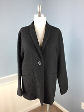 Eileen Fisher Black Long Blazer Jacket Career Cocktail Excellent S Wool Linen