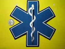 STAR OF LIFE PATCH 7 x 7 INCH BLUE MEDIC FIRST RESPONDER EMT PARAMEDIC CUTOUT