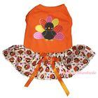 Thanksgiving Orange Cotton Top Rainbow Turkey Tutu Skirt Pet Dog Puppy Cat Dress