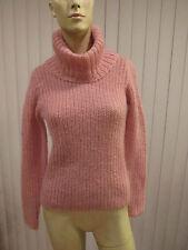 RALPH LAUREN Mohair Blend Big Collar Pullover Sweater Sz XS Pink Open Weave EUC