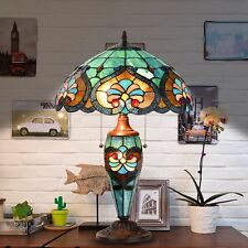 Tiffany Style Victorian Home Desk And Table Lamp with Stained Blue Glass Shade