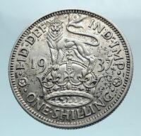1937 United Kingdom UK Great Britain GEORGE VI Silver Shilling Coin LION i78194