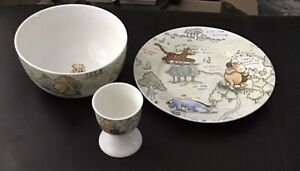Disney Pooh Ceramic Hundred Acre Wood Plate Bowl And Egg Cup