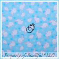 BonEful FABRIC FQ Cotton Quilt Blue Pink White S Easter Bunny Rabbit FLOWER Dot