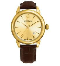 Bulova Accutron Gemini 64B118 Men's Swiss Made Automatic Watch Yellow Gold NEW