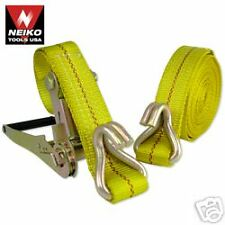 "TWO HEAVY DUTY   2""x20' Ratchet Tie Downs, J Hook"